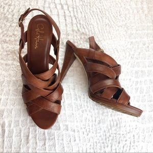 Cole Haan whitney brown leather strap heels 11 B